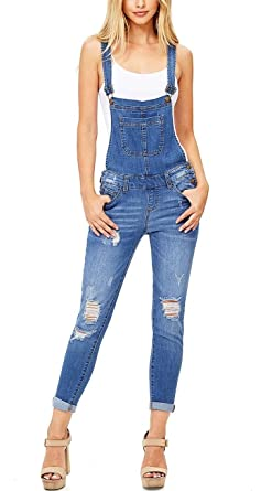 cb591203e092 Image Unavailable. Image not available for. Color  Misassy Womens Ripped  Denim Bib Overall Jumpsuit Jeans Skinny Distressed Long Rompers