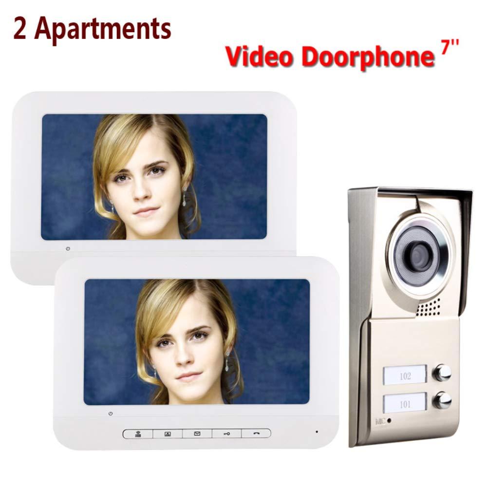 NBKLS Drahtlose Türklingel Waterproof an der Überwachung Türklingel HD-Video-Türklingel 7-Zoll-Home-Sicherheits-Alarmanlage Video-Türtelefon Intercom-System,Dualdisplay