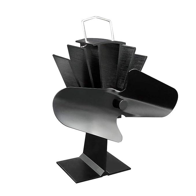 ... Estufa Alimentado por Calor de Aluminio Negro Ventilador de Estufa de Ahorro de Combustible Estufa de leña ecológica Ventilador Negro: Amazon.es: Hogar