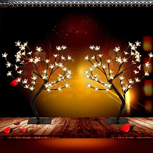 PinPle Lights Tree 2 Pack of Cherry Blossom Desk Top Bonsai Tree Light with Low Voltage for Christmas / Holiday / Home Decor (Battery-powered) (Cherry Lights Tree) by PinPle (Image #2)