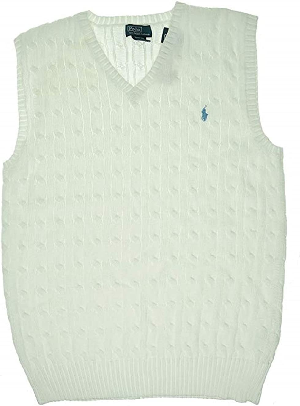 Amazon.com: Ralph Lauren Boys Sweaters Cable-Knit Cotton Sweater Vest  Medium White: Clothing