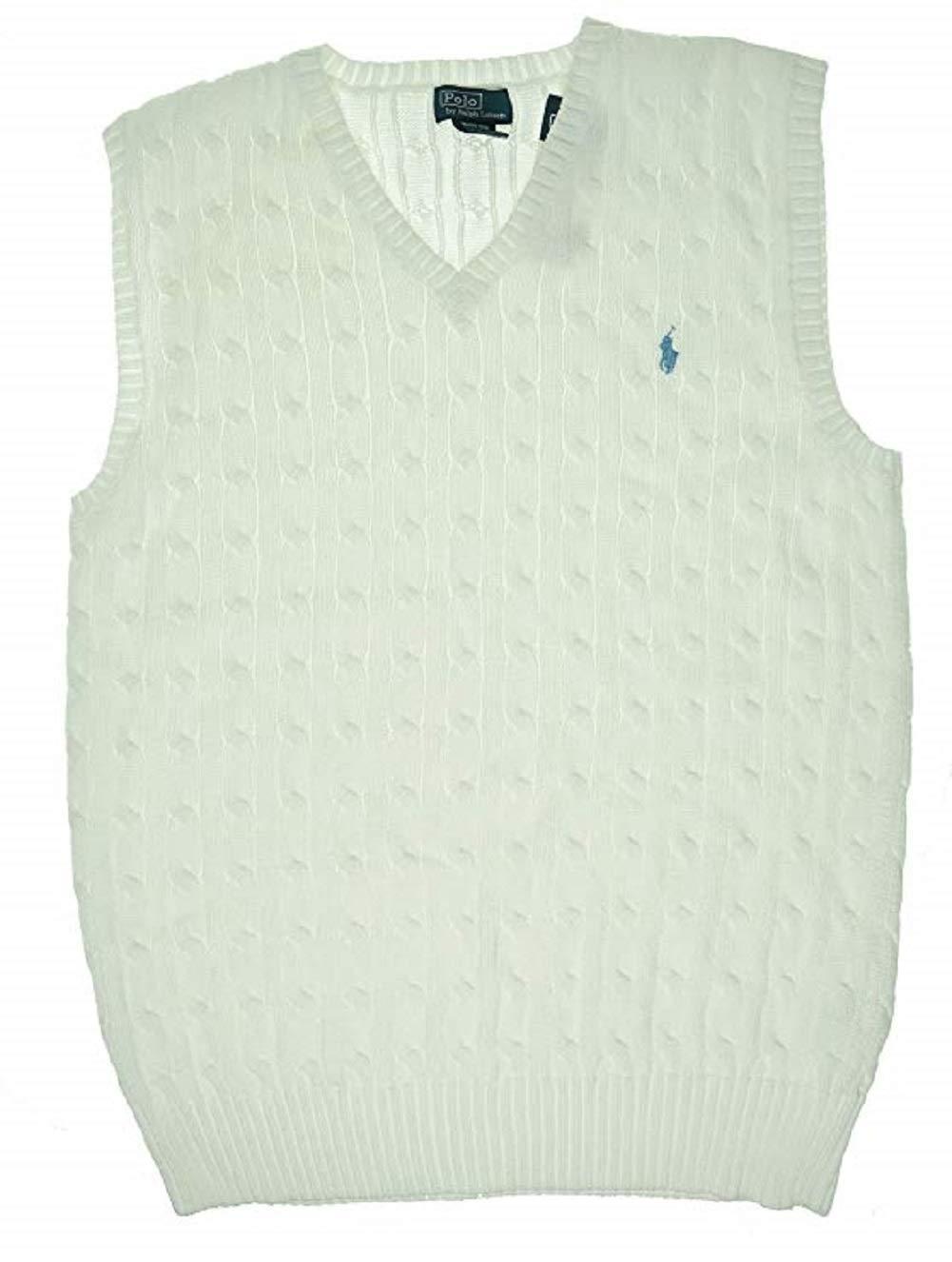 RALPH LAUREN Boys Sweaters Cable-Knit Cotton Sweater Vest Medium