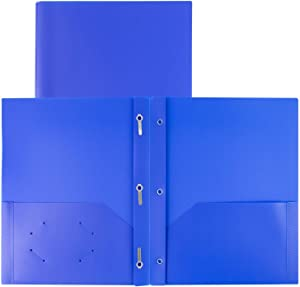 Dunwell Folders with Pockets and Prongs - (2 Pack, Blue) 2-Pocket Plastic File Folders with Prongs, 2-Pocket Folder for School with Fasteners, Heavy Duty Plastic School Folders for Kids, Labels