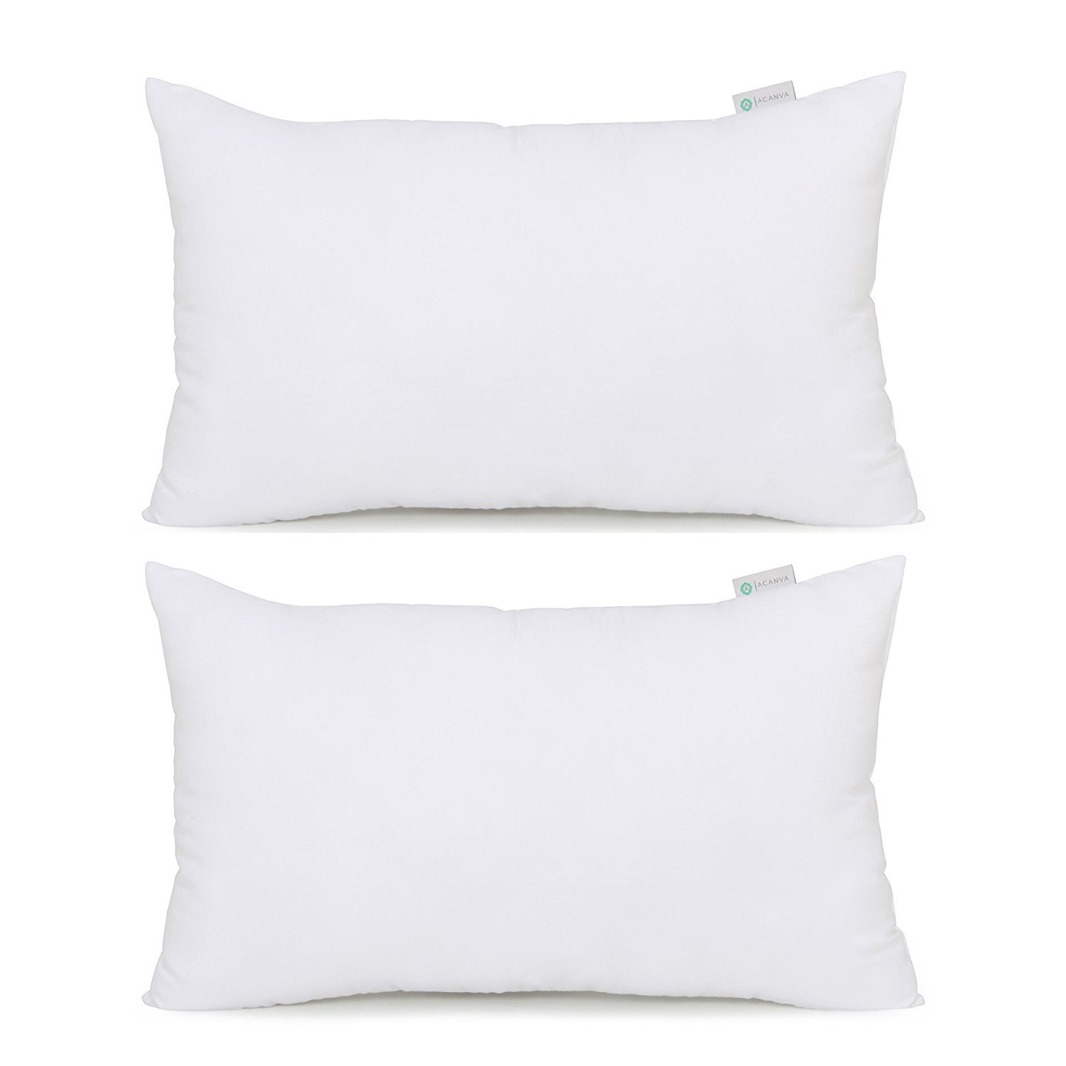 Acanva Hypoallergenic Pillow Insert Form Cushion Sham, Oblong Rectangle, 16'' L x 26'' W, Set of 2 by Acanva