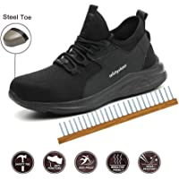 Trainers Safety Shoes, Steel Toe Lightweight Mens Womens Safety Shoes Work Midsole Protection,41/EU