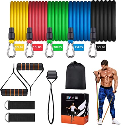 Exercise Resistance Bands Set Fitness Door Anchor 12PCS Foam Handles Legs Ankle Straps for Resistance Training Physical Therapy - Fitness Stretch Workout Bands with 5 Stackable Exercise Bands