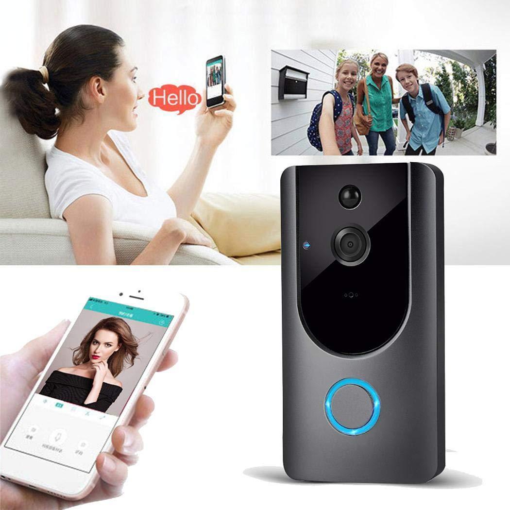 Sunywear Smart Wireless WiFi Video Doorbell HD Doorbell Alarm Remote Monitoring, Gray