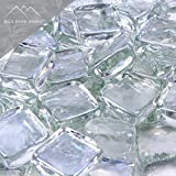 Blue Ridge Brand™ Clear Reflective Fire Glass Cubes - 50-Pound Professional Grade Fire Pit Glass - 3/4'' Reflective Fire Glass Bulk Pack - Glass Rock Contractor Pack