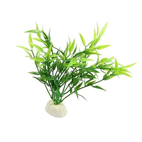 BouT Ramo de Hojas de bambú Verde para decoración de Acuario o pecera