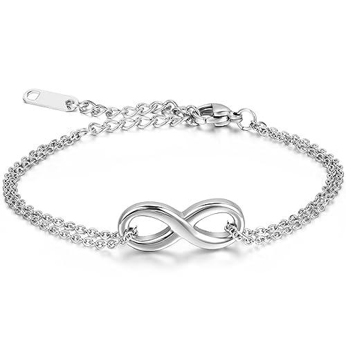 JewelryWe Joyería Pulsera Hombres Mujeres, Infinity Infinity Acero Inoxidable, Plata Pequeño (con Bolsa de Regalo)