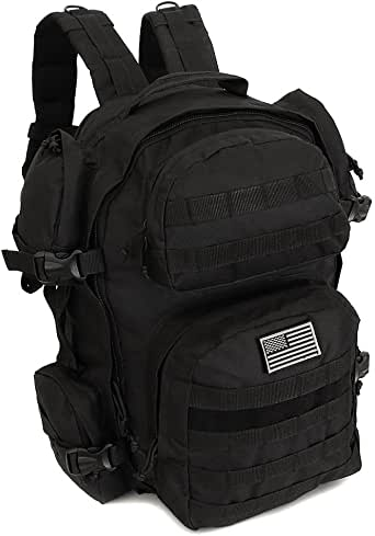 NPUSA Men's Large Expandable Tactical Molle Hydration-Ready Backpack Daypack Bag