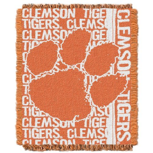 The Northwest Company Officially Licensed NCAA Clemson Tigers Double Play Jacquard Throw Blanket, 48