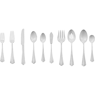 AmazonBasics 65-Piece Stainless Steel Flatware Set with Scalloped Edge, Silver, Service for 12