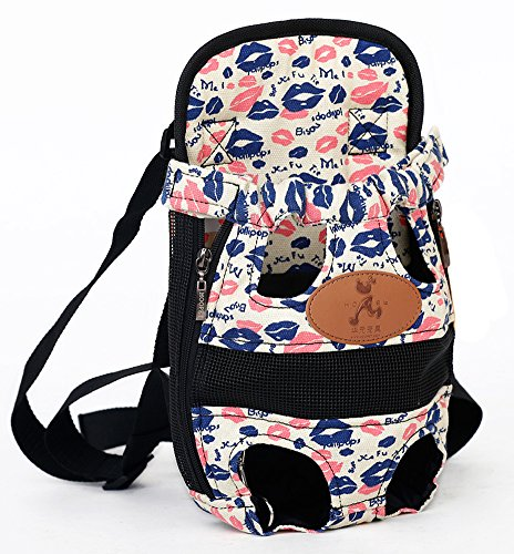 MaruPet Front Cat Dog Backpack Travel Bag Sling Carrier Portable Outdoor Lightweight and Safe Soft Comfortable Puppy Kitty Rabbit Double-Sided Pouch Shoulder Carry Tote Handbag White S