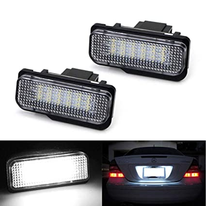 2pcs Car Rear License Plate Light for Mercedes-benz CE CLS SLK Class Error  Free 3W 18 Led White Rear License Tag Lights Rear Number Plate Lamp Direct