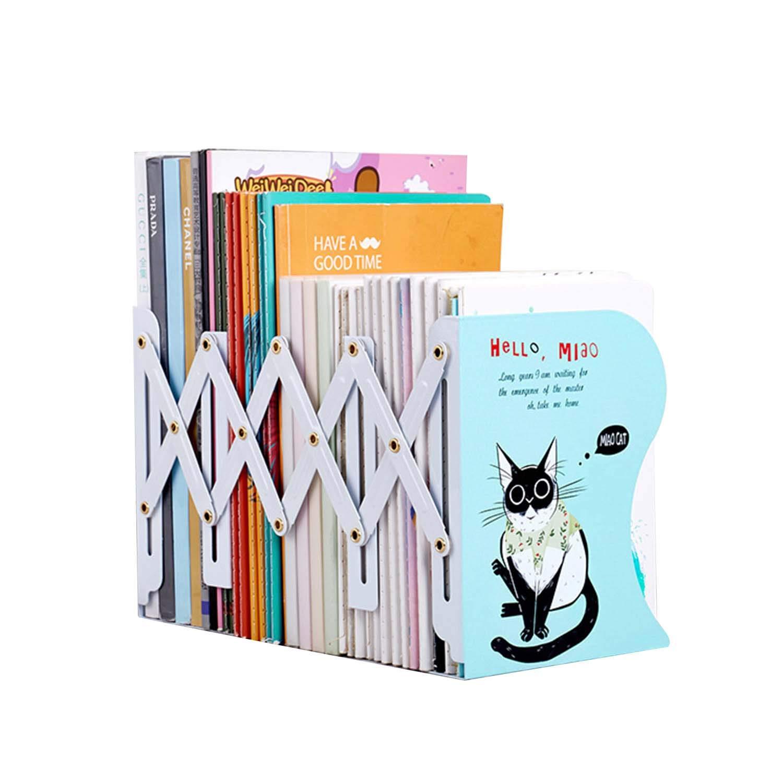 Bookends Book Racks Metal Iron Adjustable Books Holder Stand Desk Nonskid Bookend Magazine File Holders Bookshelf Decor Desktop Organizer Bedroom Office School Book Ends Display (Blue Cat)