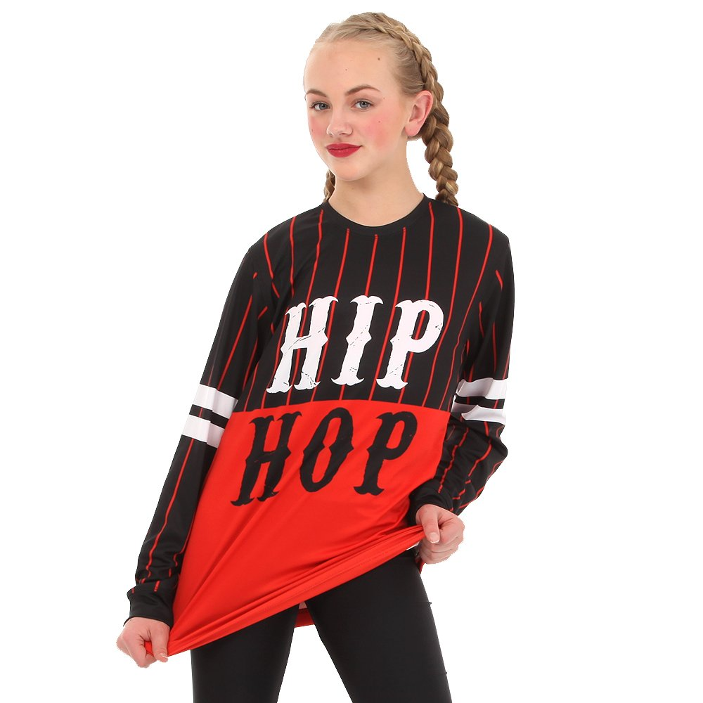 Alexandra Collection Womens Hip Hop Long Sleeve Dance Shirt Black/Red XX-Large by Alexandra Collection
