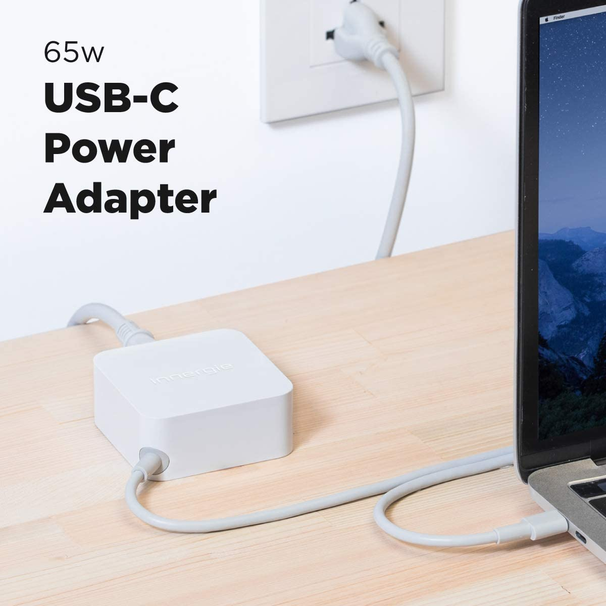 Innergie 65W USB C Laptop Charger - Universal Computer Power Adapter with Portable Cord- Compatible with HP Pavilion/Dell/Apple MacBook Pro/Google Chromebook/Lenovo/Acer/Switch - Built-in Type C Cable