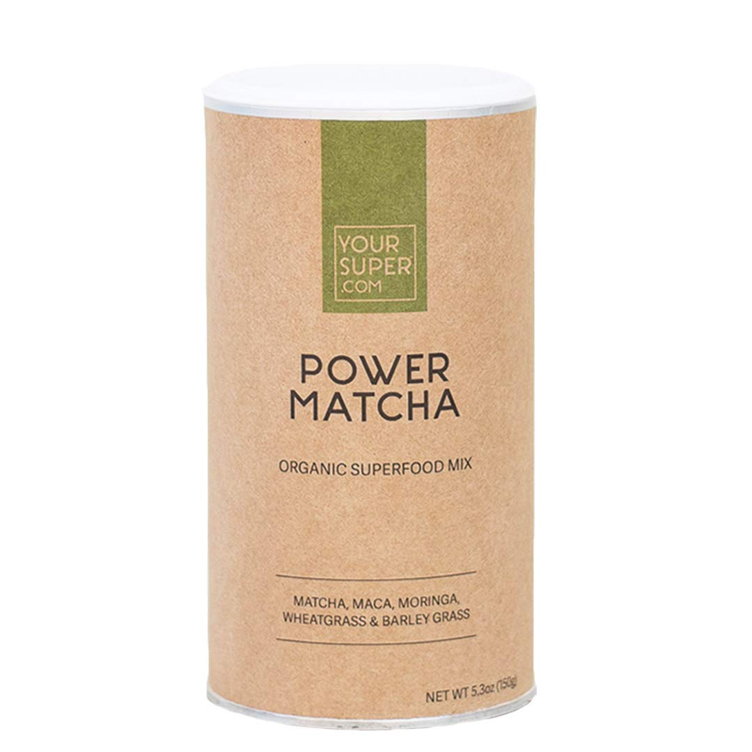 Power Matcha Superfood Mix by Your Super Plant Based Focus Energy Blend Green Tea Powder, Natural Caffeine Antioxidants Essential Vitamins Non-GMO, Organic Ingredients