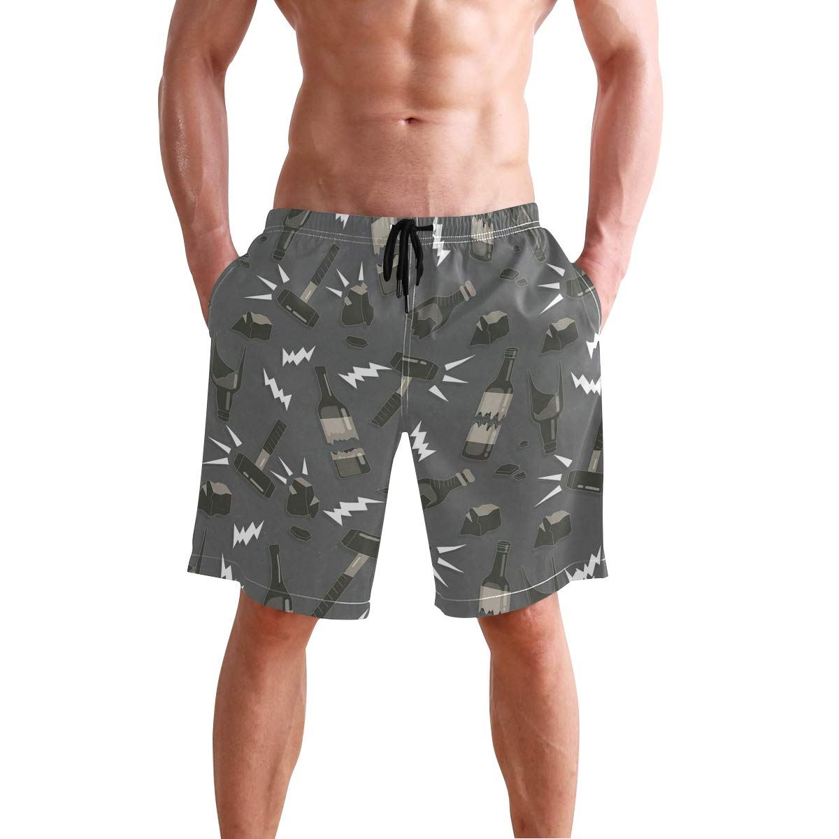 Casual Mens Swim Trunks Breathable Quick Dry Printed Beach Shorts Broken Bottle Summer Boardshorts with Mesh Lining