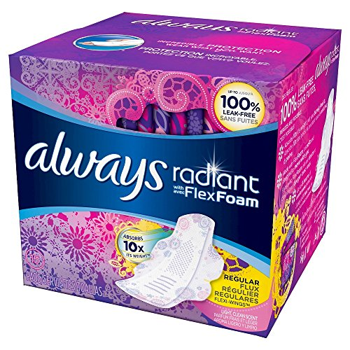 - Always Radiant Pads With Wings Regular Absorbency Scented,15 ct