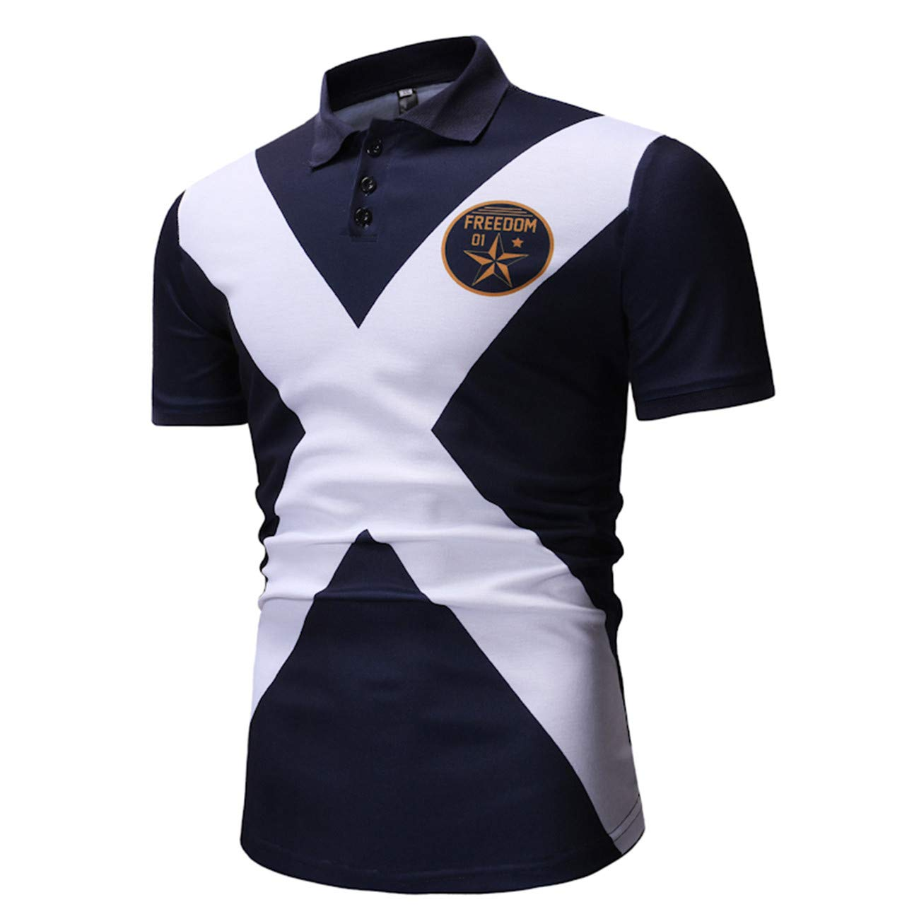 Mens Floral Printed Short Sleeve Leisure and Fashion Polo Shirt