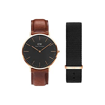 ef47e9ac9 Image Unavailable. Image not available for. Color: Daniel Wellington Gift  Set, Classic Black St Mawes 40mm Watch ...