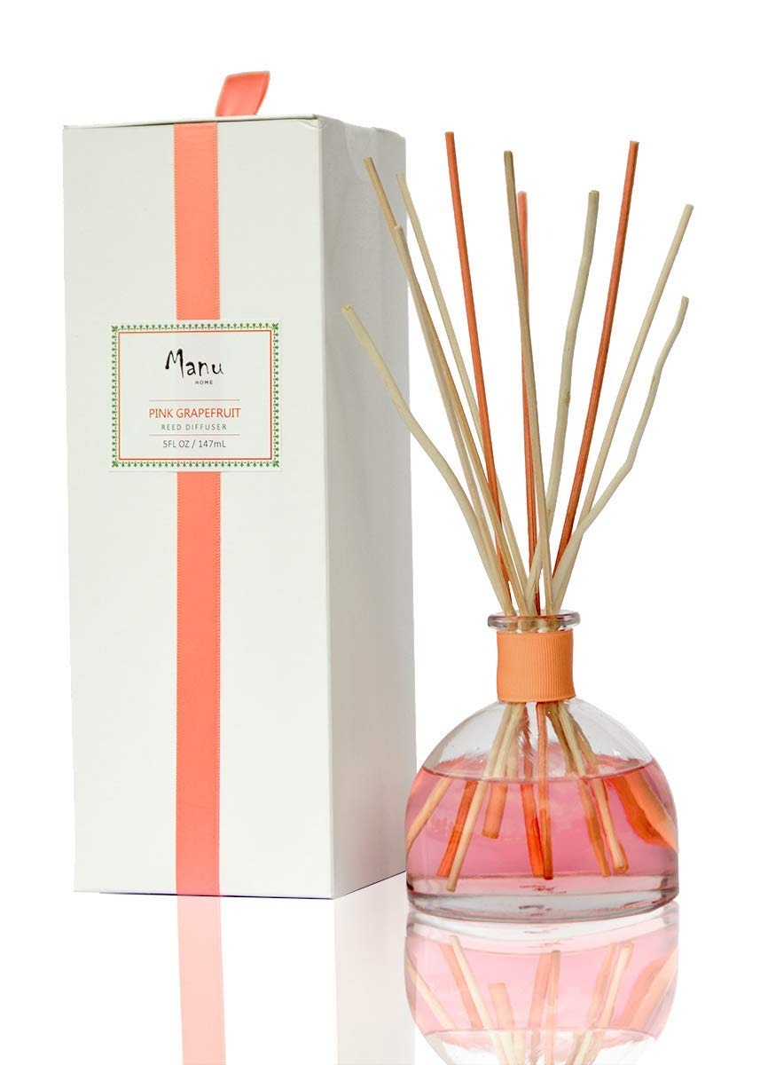 Manu Home Pink Grapefruit Reed Diffuser Set | Clean, Refreshing, Energizing Aroma of Grapefruit with a hint of Natural Orange | Best Essential Oils Used | 5oz | Vegan | Made in USA~ by Manu Home
