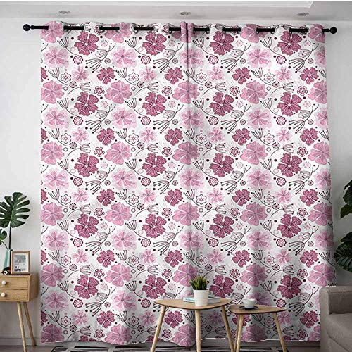 XXANS Kids Curtains,Purple,Vintage Nature Blossom,Energy Efficient, Room Darkening,W84x108L