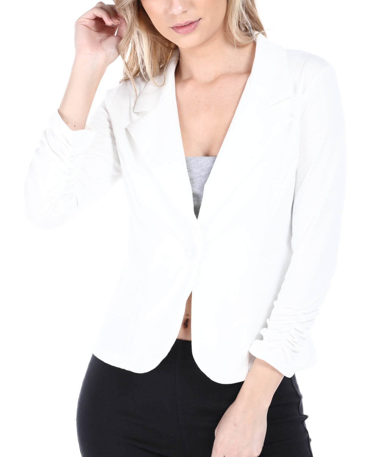 Brosis Women's Casual Office Knit Jacket, Made in USA (Large, White)