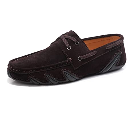 Hongjun-shoes, Mens Driving Penny Loafers Lace UP Cuero Genuino Mocassins Plana Suela Suave
