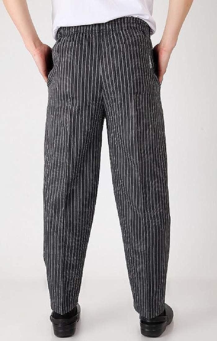 Lutratocro Men Mid Waist Kitchen Uniform Printing Trousers Open Bottom Chef Pants