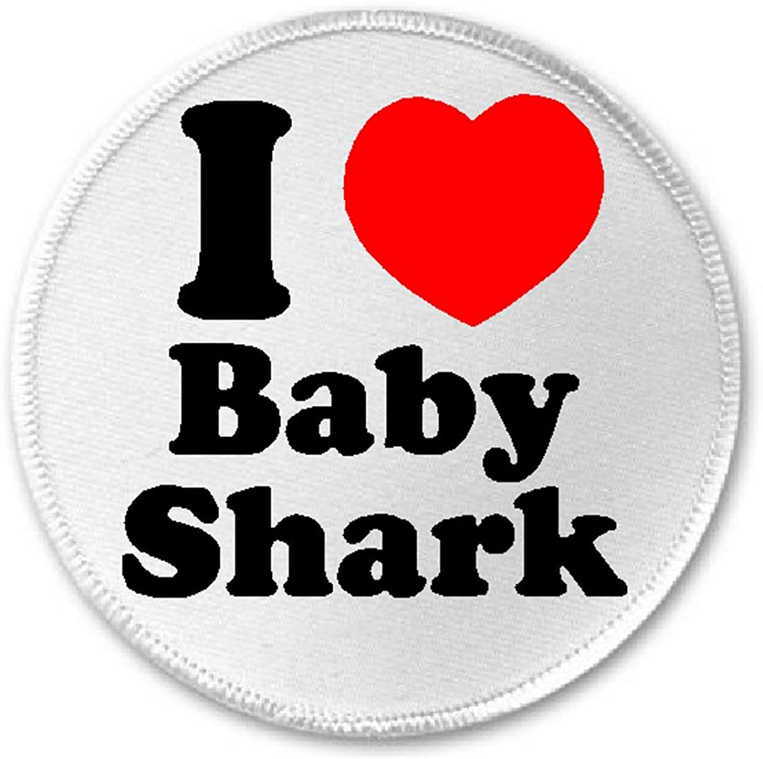 "I Love Baby Shark - 3"" Sew/Iron On Patch Song Music Meme Mommy Daddy Doo"