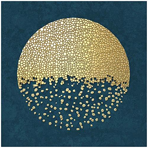 SXXRZA Cuadro en Lienzo 80x80cm sin Marco Pintura Abstracta Cuadros Dorados y Azules de la Pared Decoracion de Estilo mediterraneo Pinturas Decoracion de la Sala de Estar