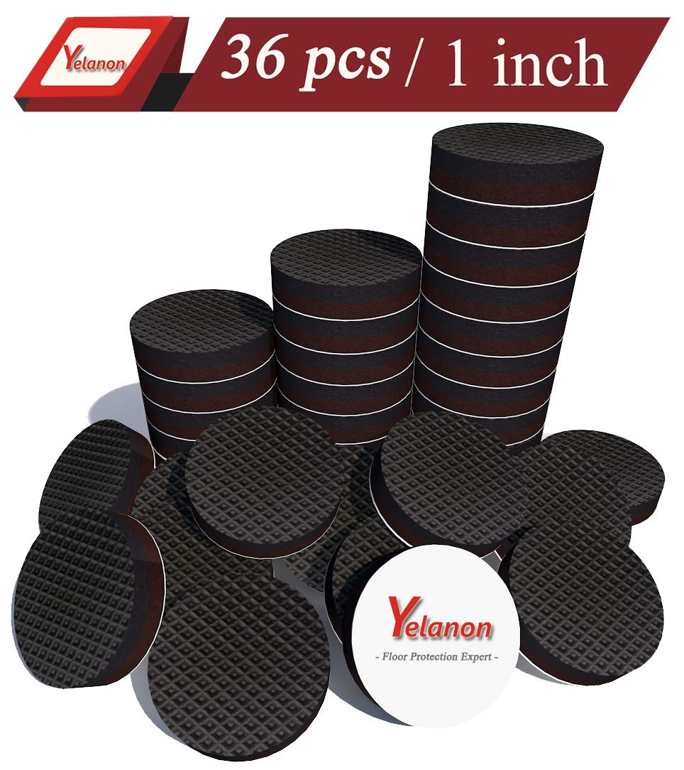 "Yelanon Non Slip Furniture Pads 36 pcs 1"" Anti Skid Furniture Pads Stopper Self Adhesive Rubber Feet Furniture Pads Wood Floor Protector for Furniture Grippers on Hardwood Floor - Protectors Chair Leg"