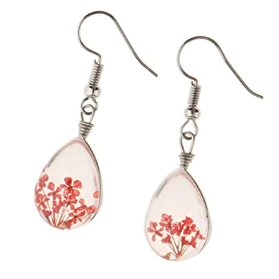 d415bcbb9fd918 Baosity Handmade Real Botanical Dried Flower Earrings Transparent Resin  Teardrop - Red
