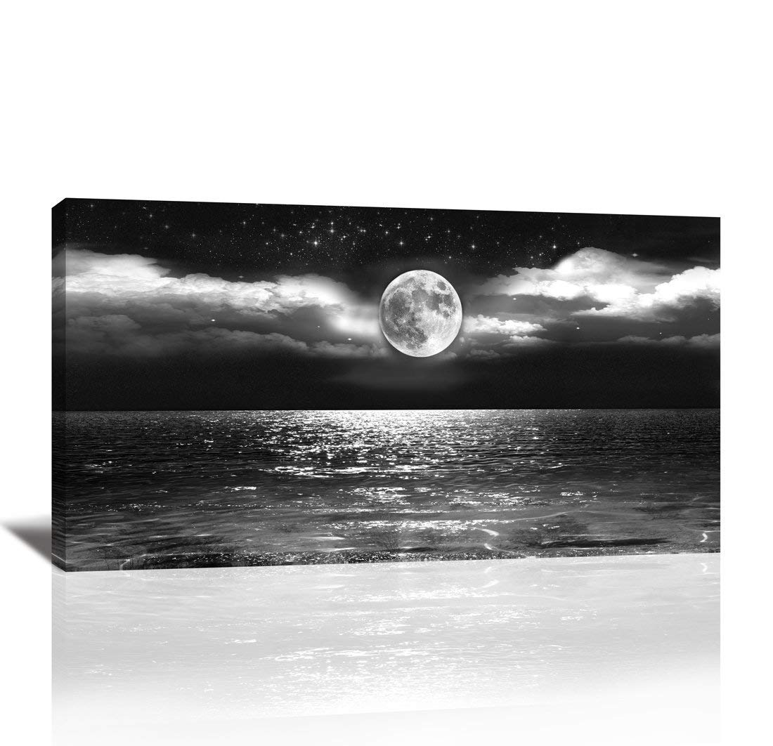 Canvas art black white moon sea ocean landscape paintings canvas wall art print paintings modern giclee artwork for wall decor and home decor stretched and