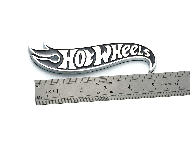 Right Chrome Black 1x Hot Wheels Emblem Side Fender Badge For GM Chevy Camaro