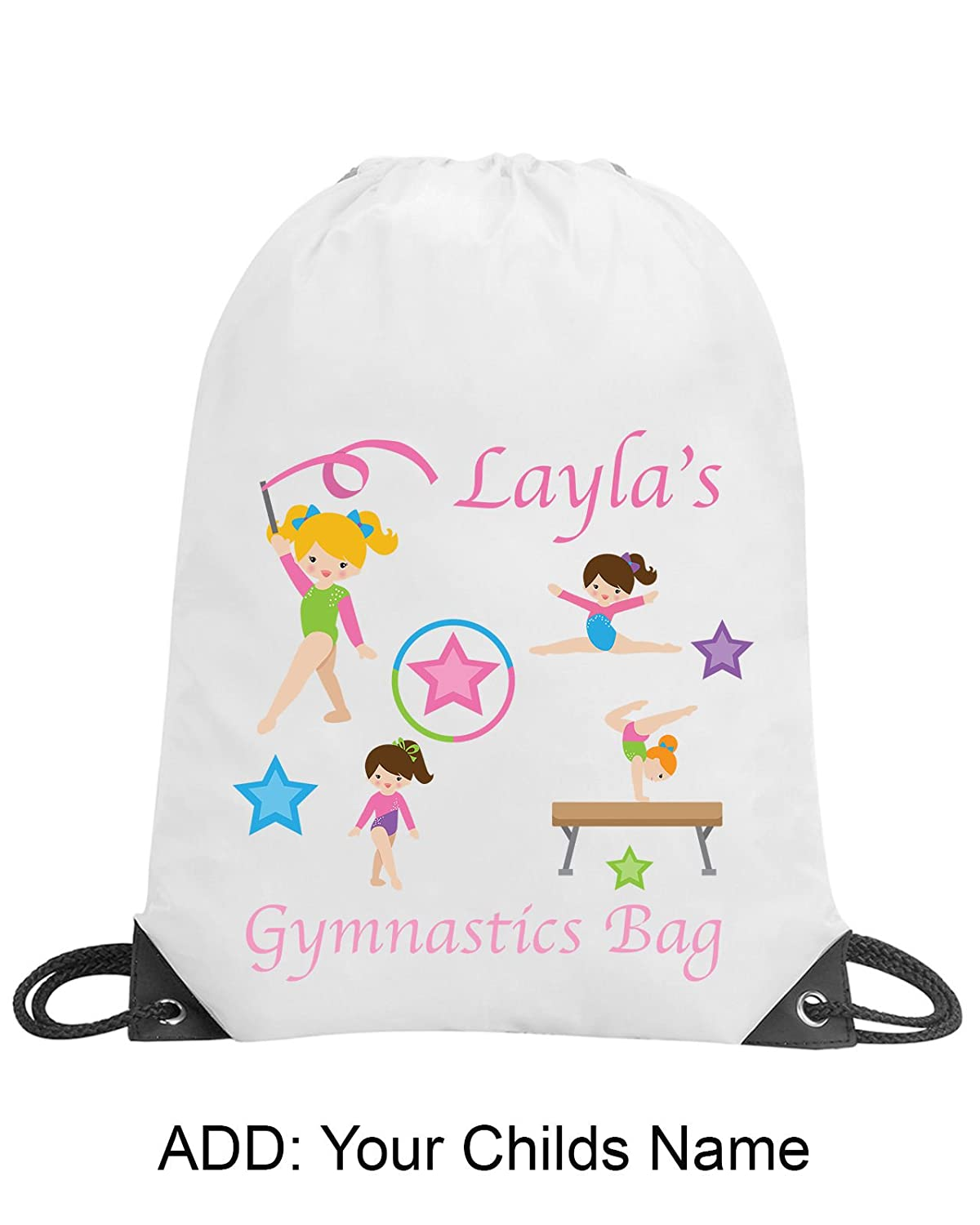 Girls Gymnastics Bag Personalised Gym Swimming PE Bag School Gift Drawstring Shugon