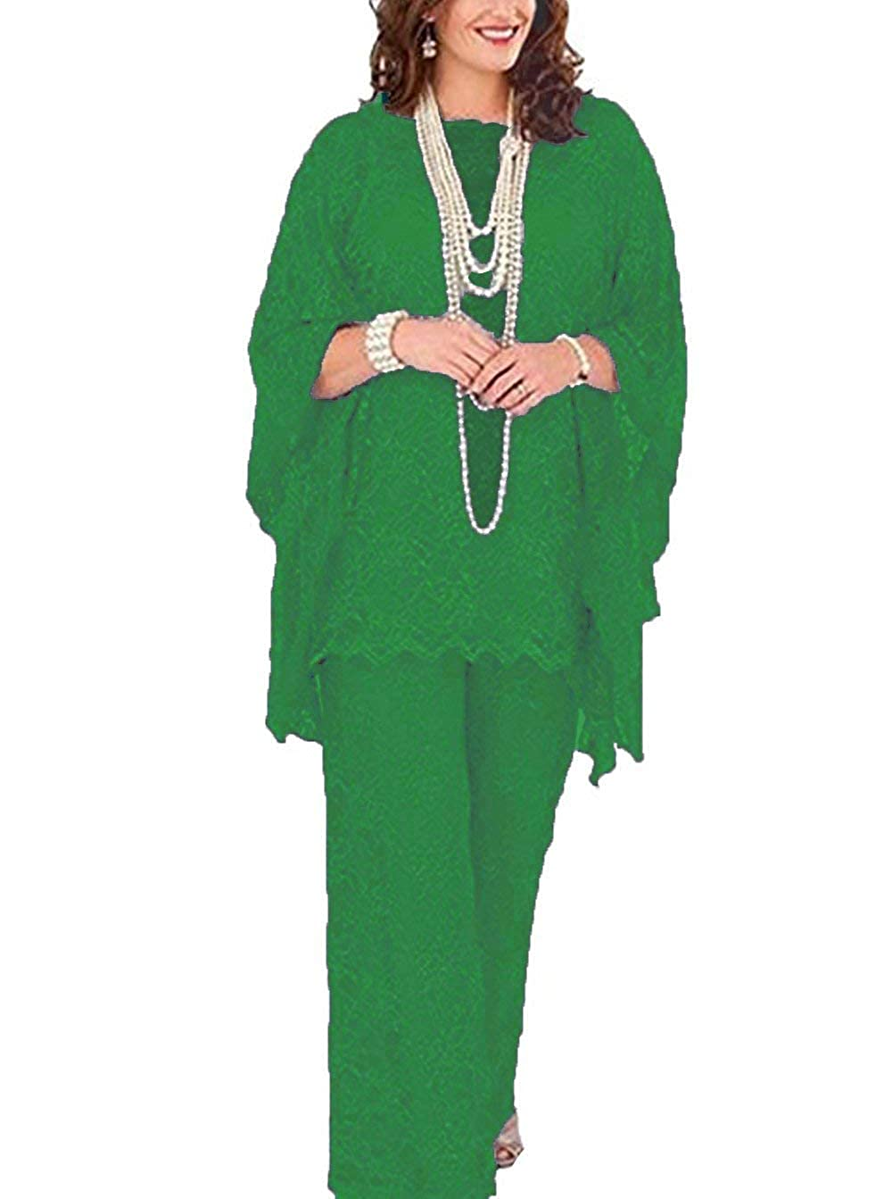Green Women's 3 Pieces lace Mother of Bride Dress Pant Suits Long Sleeves