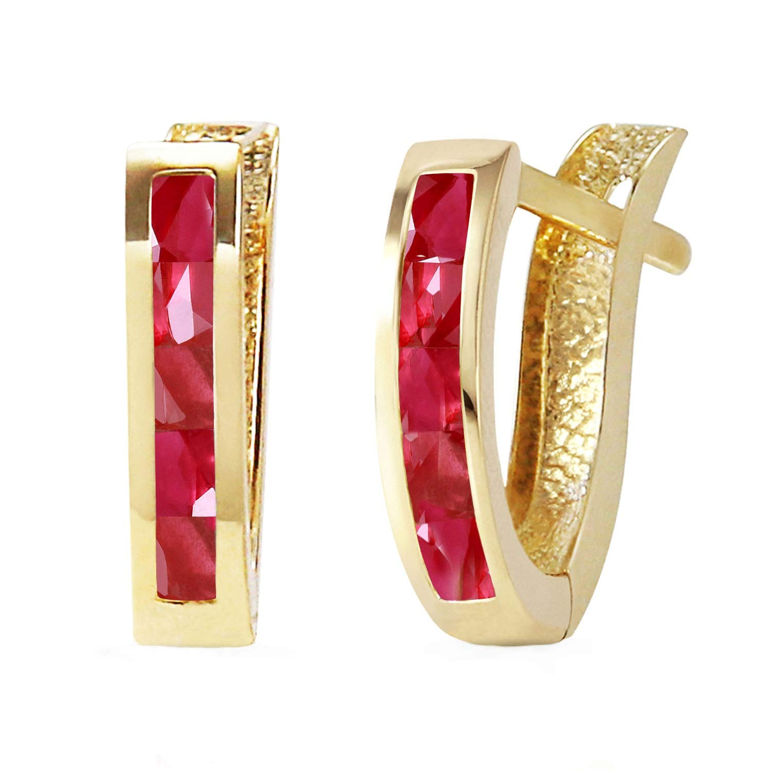 Galaxy Gold 14K Solid Yellow Gold Oval Huggie Earrings with Natural 1.3 Carat Ruby