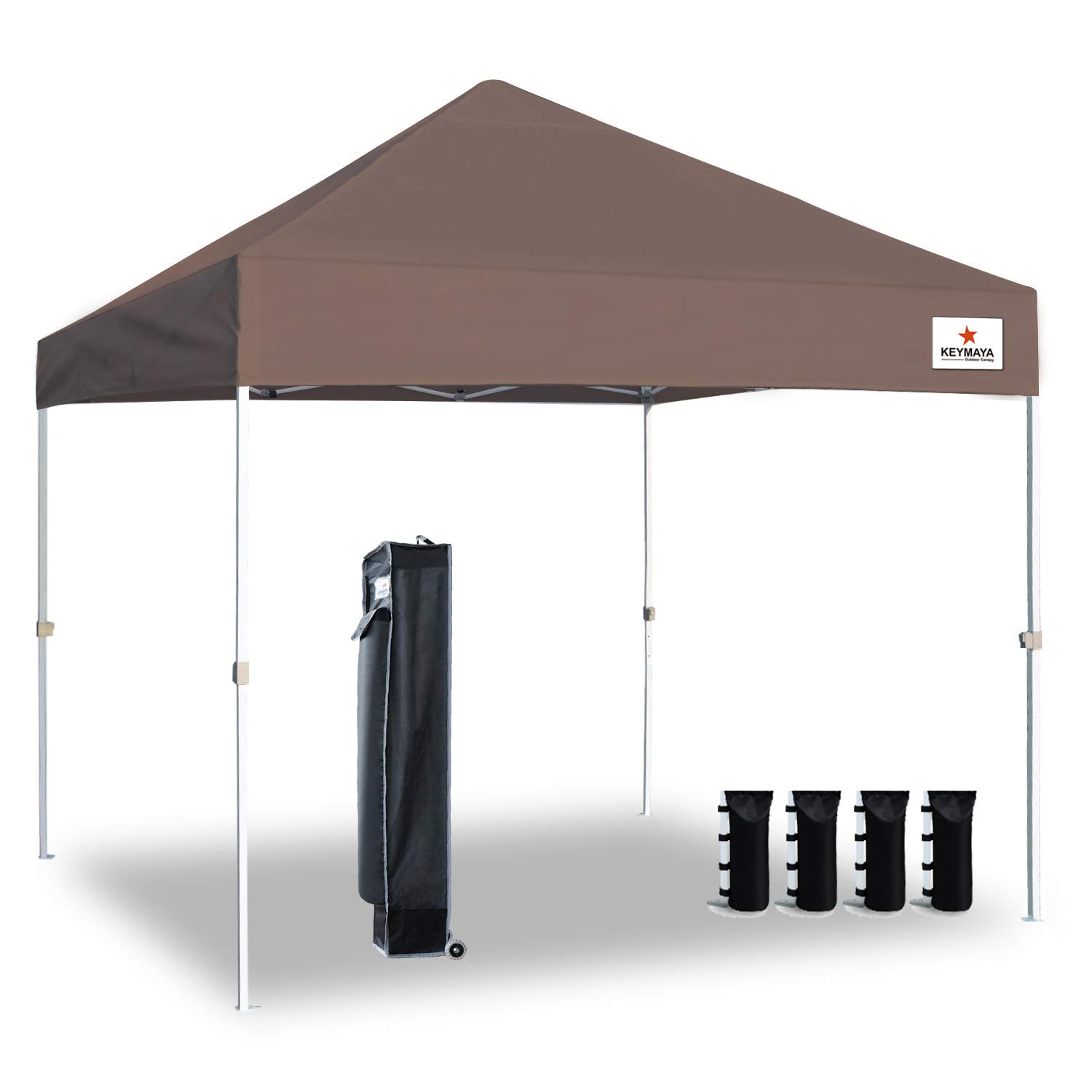 Keymaya 10'x10' Ez Pop Up Canopy Tent Commercial Instant Shelter Canopies Bonus Heavy Duty Weight Bag 4-pc Pack (Light Brown)