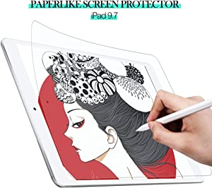 iPad 9.7 Screen Protector, High Touch Sensitivity Anti Glare Scratch Resistant Paper Feel Matte PET Film for iPad 9.7 & iPad Pro 9.7 / Apple Pencil or Other Active Stylus Pens(1 Pack, Clear)