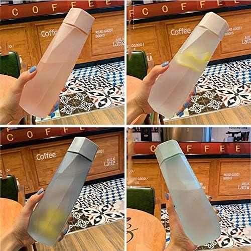 Xingw Water Bottle 500ML Semplice plastica glassato della Bottiglia Maschile e Femminile Allievi Sport Acquatico Scrub Copertura Portatile Coppa di Vetro (Color : Color 4) Color 3