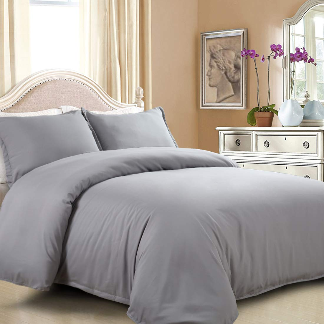 EASELAND Duvet Cover Set Queen,Grey Luxury Soft Bedding Set 3 Pcs-1 Soft Microfiber Duvet Cover Matching 2 Pillowcase Wrinkle, Fade, Stain Resistant.(Without Duvet and Pillow)