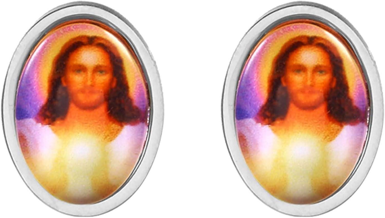 AnazoZ Pendientes Aro Acero Inoxidable Mujer Pendientes de Aro Jesús Oval Pendientes Plata/Oro/Oro Rosa