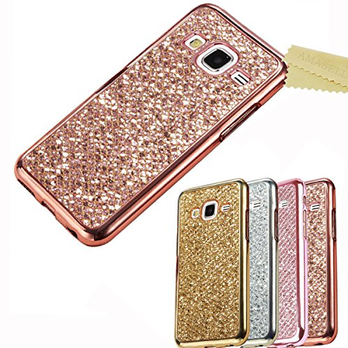 Cheap Cases Samsung Galaxy Core Prime Glitter Case, AMASELL Electroplated Bumper Frame and Bling..