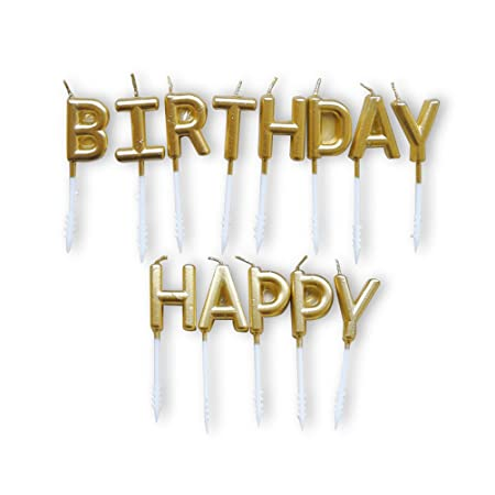 Toyvian Feliz cumpleaños Dorado Pastel Velas Velas Pastel ...