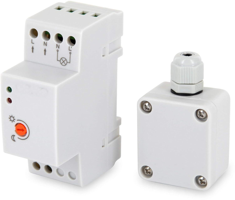 /para carril Carril DIN/ Aufputz Mini exterior Sensor Crepuscular 230/V IP65/3000/W/ /LED Adecuado a partir de 1/W