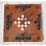 Welsh Tawlbrdd - leather board with wooden pieces